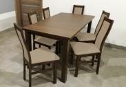 Jídelní set AGA - 6x židle, 1x rozkládací stůl (wenge/eko kůže)
