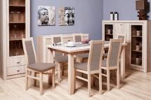 Jídelní set Agáta - 6x židle, 1x rozkládací stůl (sonoma/látka)