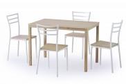 Jídelní set Avant - stůl + 4 židle (bílá/dub sonoma)
