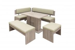 Jídelní set Elinor - rohová lavice, stůl, 2x taburet(dub,béžová)