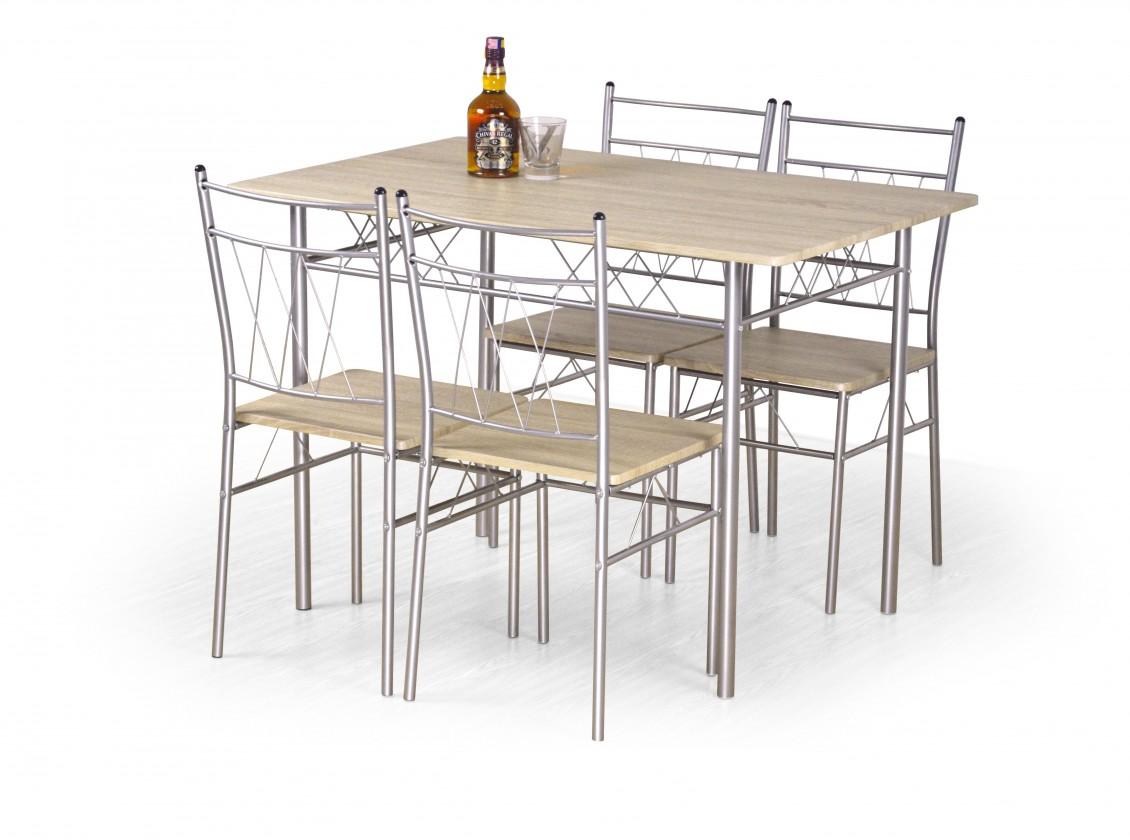 Jídelní set Faust - Stůl + 4 židle (dub sonoma, stříbrná)