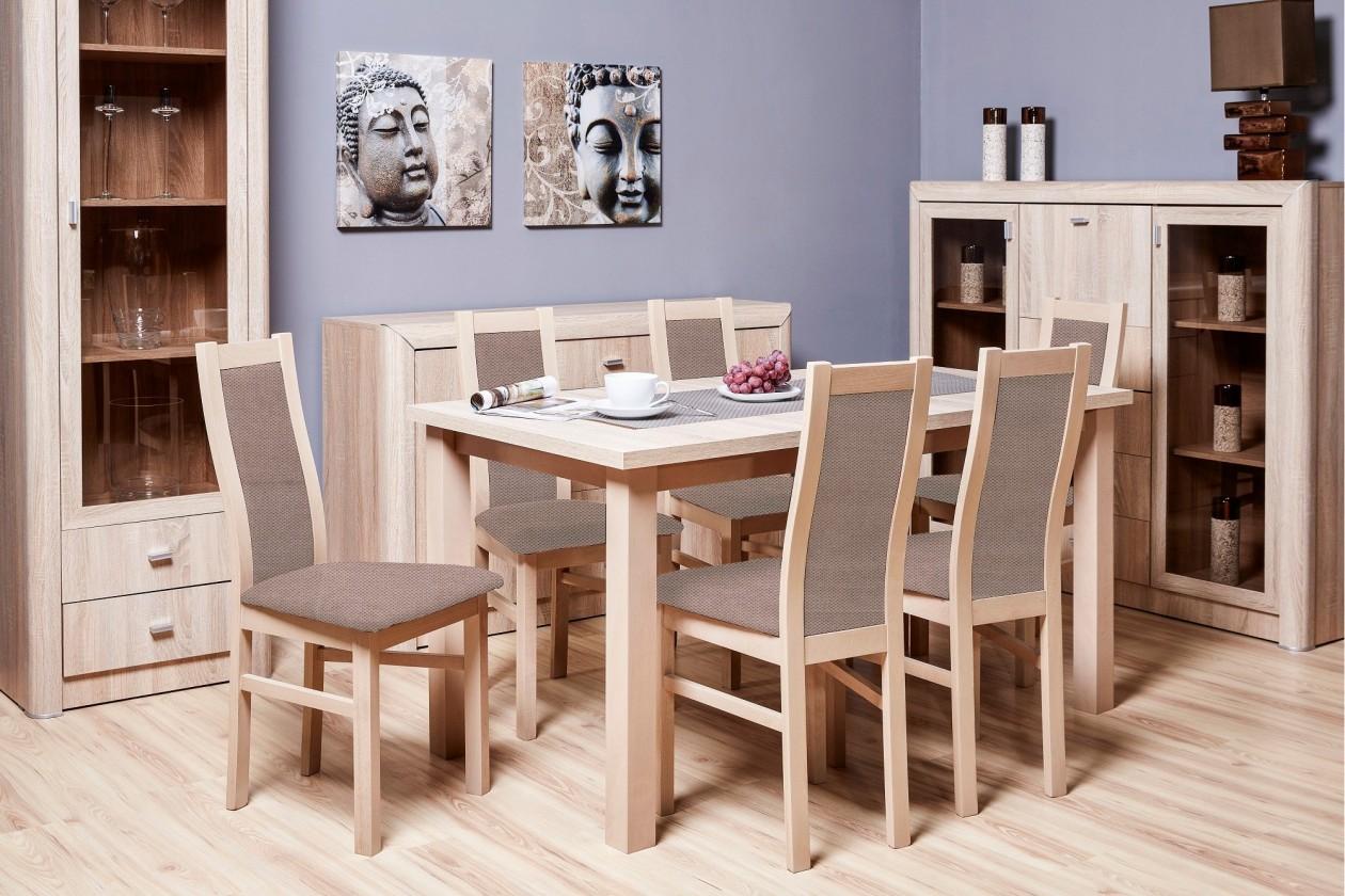 Jídelní set Jídelní set AGA - 6x židle, 1x rozkládací stůl (sonoma/látka)