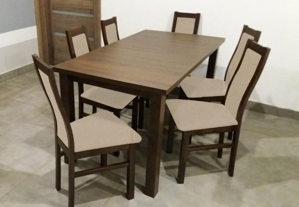 Jídelní set Jídelní set AGA - 6x židle, 1x rozkládací stůl (wenge/látka)