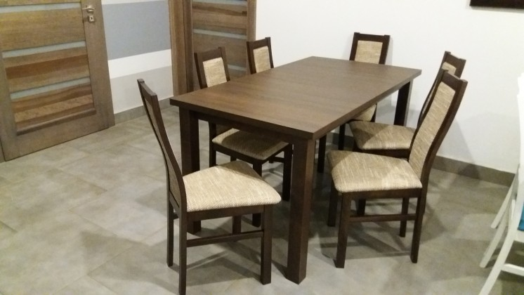 Jídelní set Jídelní set Agáta - 6x židle, 1x rozkládací stůl (wenge/eko kůže)