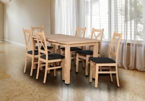 Jídelní set Kasper - 6x židle, stůl rozkládací(dub sonoma,černá)