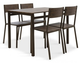 Jídelní set Mabel - 4x židle, 1x stůl (ořech, tmavě hnědá)