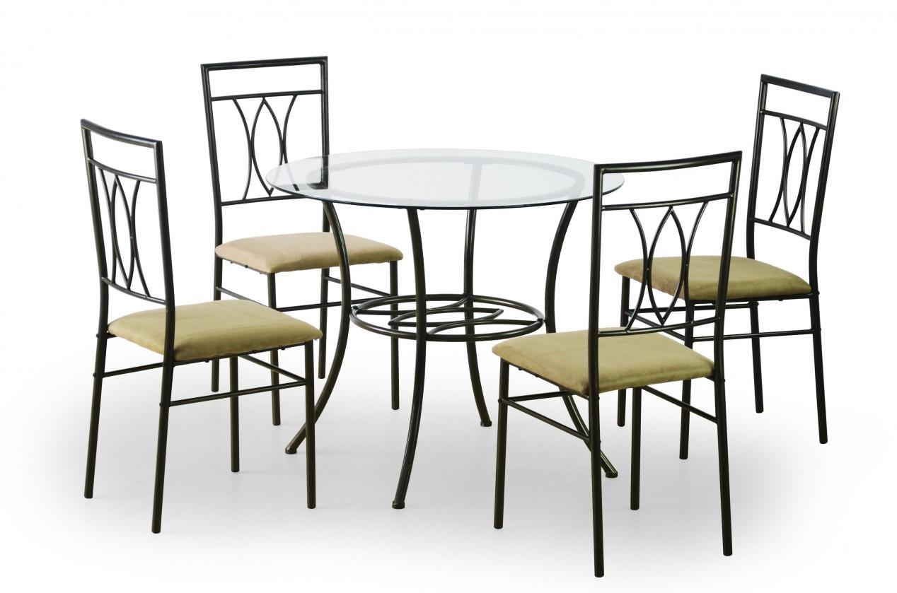 Jídelní set Merton - Stůl kulatý + 4 židle (černá, cappuccino)