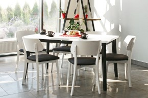 Jídelní set Ombo - 6x židle, 1x rozkládací stůl (bílá, černá)