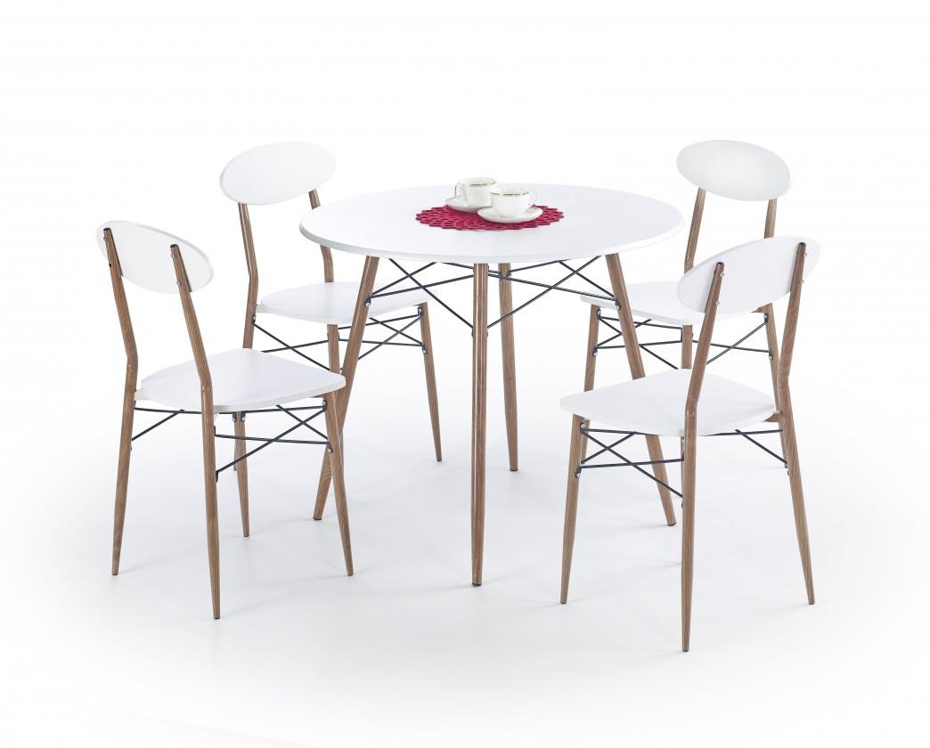 Jídelní set Record - Stůl + 4 židle, kulatý (bílá, hnědá)