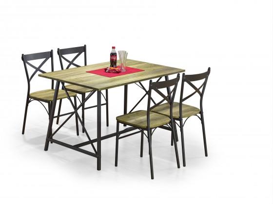 Jídelní set Reliant - Stůl + 4 židle (černá, dřevo)