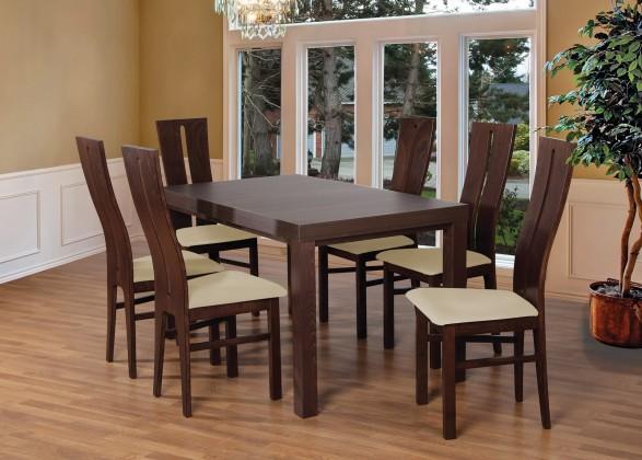 Jídelní set set 1 - 6x židle, stůl, rozkládací (ořech tmavý/madryt 111/buk)