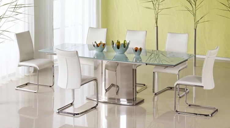 Jídelní stůl Alessandro (sklo - mléčné / nerez)
