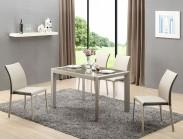 Jídelní stůl Arabis (sklo,světle hnědá,béžová) - II. jakost
