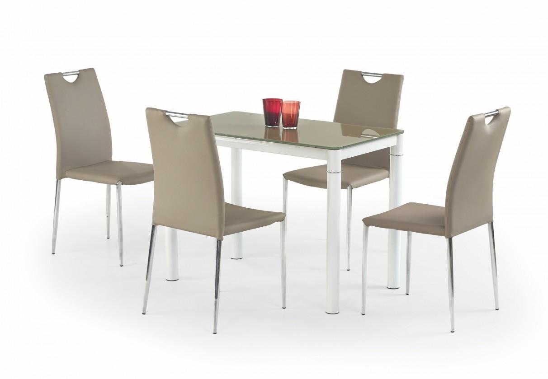 Jídelní stůl Argus (sklo - béžová / bílá)