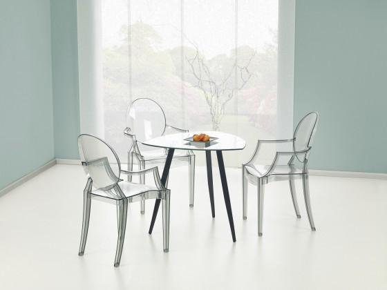 Jídelní stůl Artemis  - jídelní stůl (sklo/černá ocel)