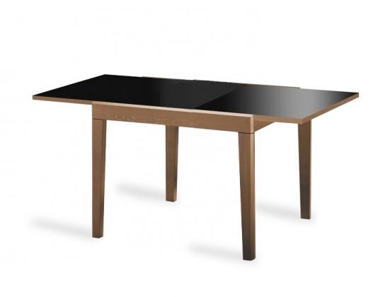 Jídelní stůl Asso-90 - Jídelní stůl (ořech, černé sklo)