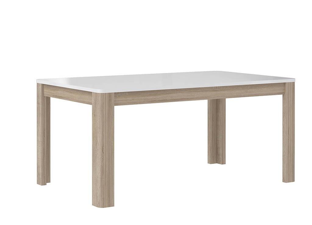 Jídelní stůl Attention-FLOT16(P50 - bílý / dub sonoma / bílý lesk)