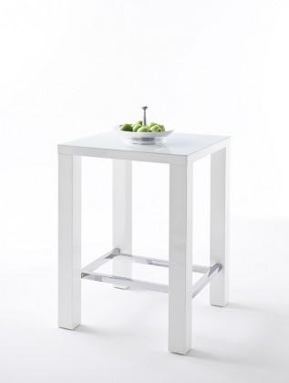 Jídelní stůl Barový stolek Jordy (bílá, stříbrná, čtverec)
