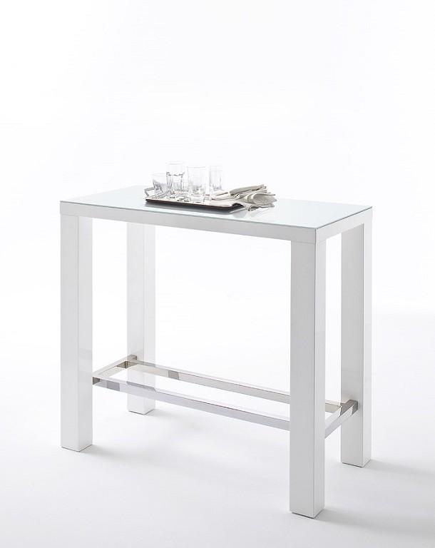 Jídelní stůl Barový stolek Jordy (bílá, stříbrná, obdélník)