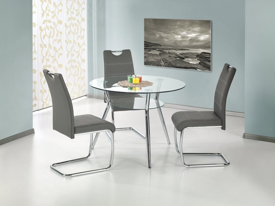 Jídelní stůl Becker - Jídelní stůl 100 cm (stříbrná, čiré sklo)