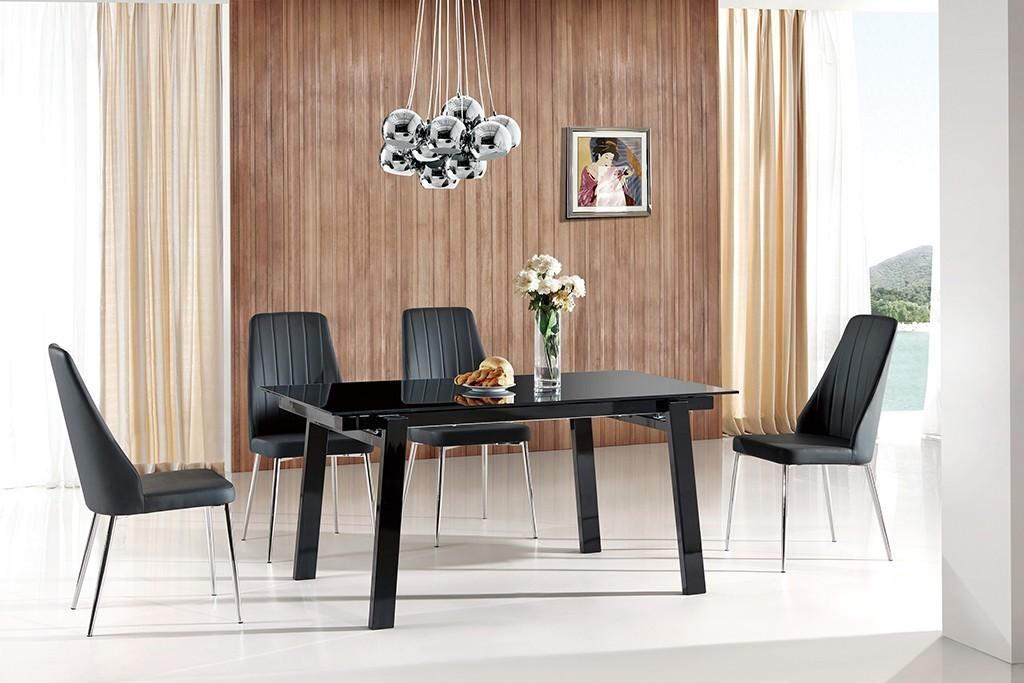 Jídelní stůl Benedikt  (sklo - černá,ořech)