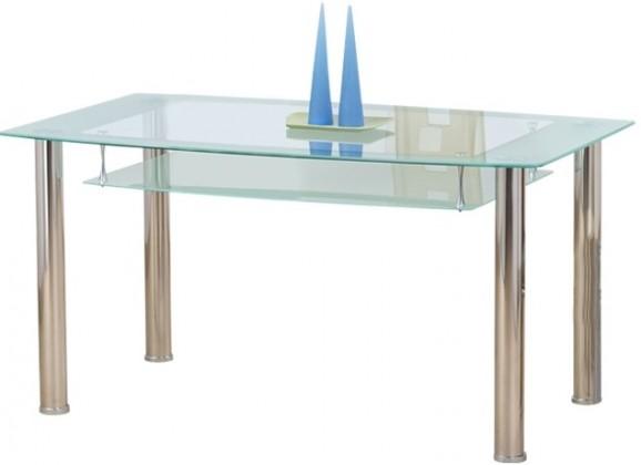 Jídelní stůl Cristal - Jídelní stůl, ocel/sklo číré/sklo mléčné