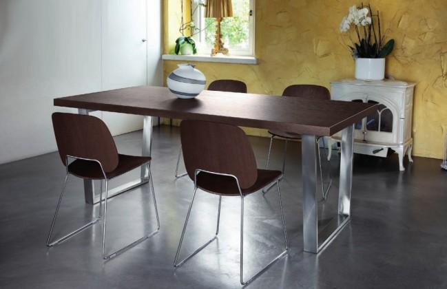 Jídelní stůl Cruise - 240 cm (kostra nikl/deska čokoládový jasan)
