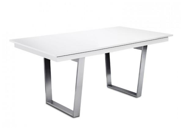 Jídelní stůl Deck 160 cm (deska bílá lesk/kostra ocel)