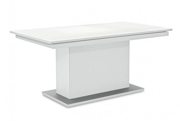 Jídelní stůl Deck 160 cm (deska bílá lesk/kostra postavec bílá)