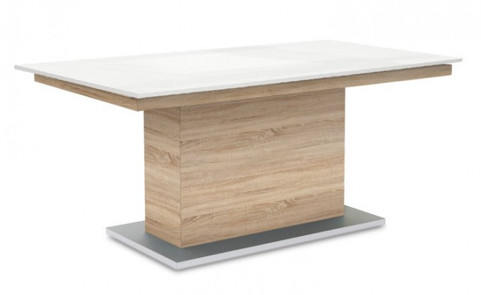 Jídelní stůl Deck 160 cm (deska bílá lesk/kostra postavec dub)