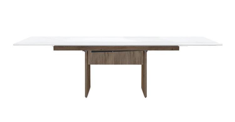 Jídelní stůl Deck 160 cm, rozkládací  (bílá lesk/kostra panely tmavý dub)