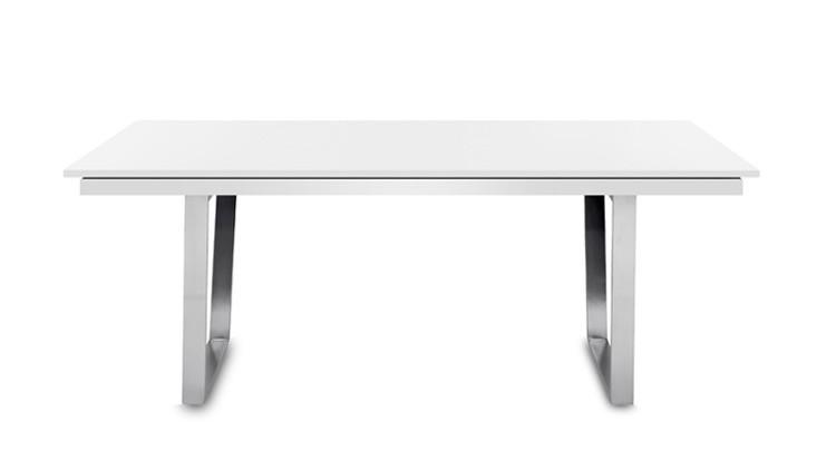 Jídelní stůl Deck 160 cm, rozkládací  (deska bílá/kostra ocel)