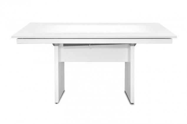 Jídelní stůl Deck 160 cm, rozkládací  (deska bílá lesk/kostra panely bílá)
