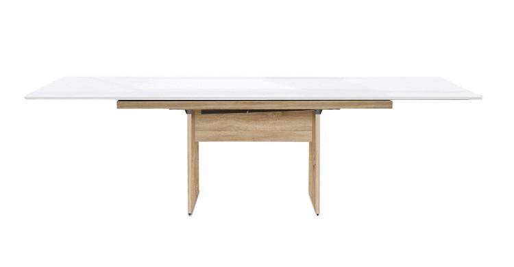 Jídelní stůl Deck 160 cm, rozkládací  (deska bílá lesk/kostra panely dub)