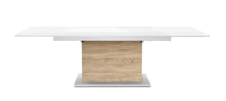 Jídelní stůl Deck 160 cm, rozkládací  (deska bílá lesk/kostra postavec dub)
