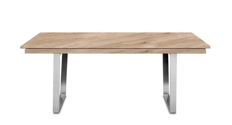 Jídelní stůl Deck 160 cm, rozkládací  (deska pískový dub/kostra ocel)