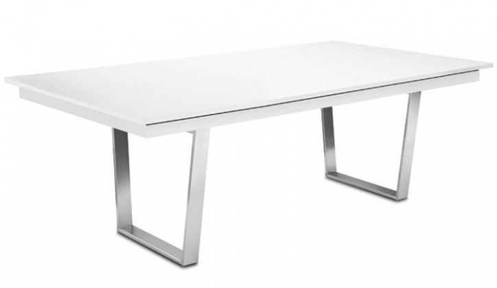 Jídelní stůl Deck 190 cm (deska bílá lesk/kostra ocel)