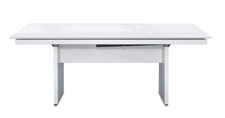 Jídelní stůl Deck 190 cm (deska bílá lesk/kostra panely bílá)
