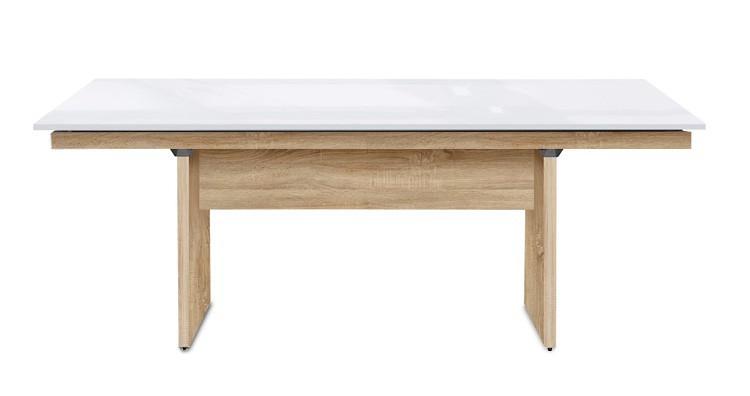 Jídelní stůl Deck 190 cm (deska bílá lesk/kostra panely dub)