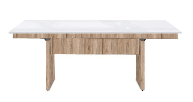 Jídelní stůl Deck 190 cm (deska bílá lesk/kostra panely pískový dub)