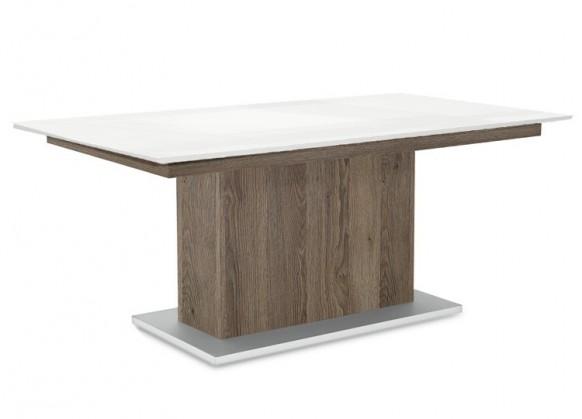 Jídelní stůl Deck 190 cm (deska bílá lesk/kostra postavec tmavý dub)