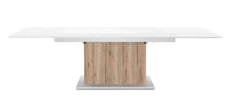 Jídelní stůl Deck 190 cm, rozkládací  (bílá lesk/pískový dub)