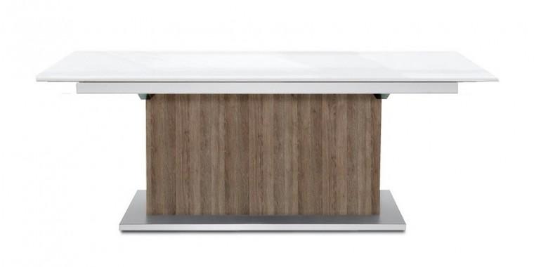 Jídelní stůl Deck 190 cm, rozkládací  (bílá lesk/tmavý dub)