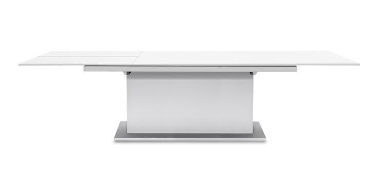 Jídelní stůl Deck 190 cm, rozkládací  (deska bílá/kostra postavec bílá)
