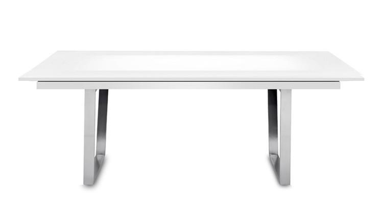 Jídelní stůl Deck 190 cm, rozkládací  (deska bílá lesk/kostra ocel)