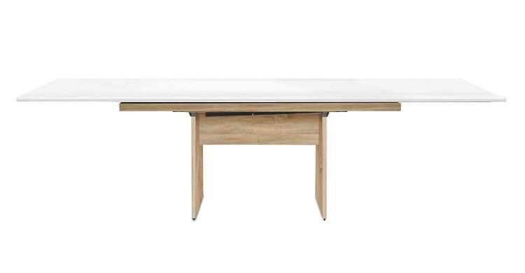 Jídelní stůl Deck 190 cm, rozkládací  (deska bílá lesk/kostra panely dub)