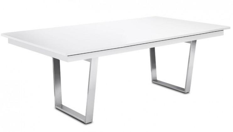 Jídelní stůl Deck 220 cm (deska bílá lesk/kostra ocel)