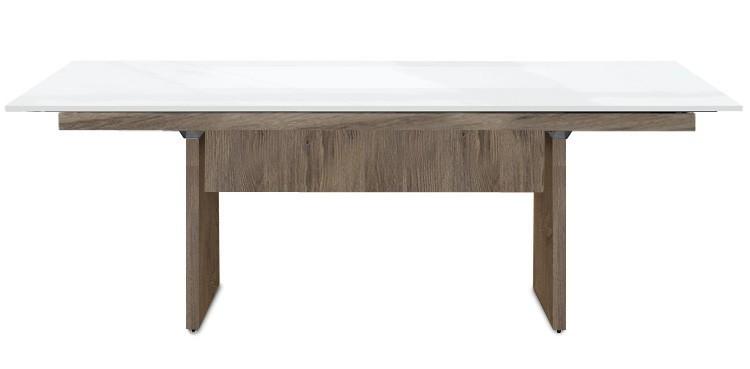 Jídelní stůl Deck 220 cm (deska bílá lesk/kostra panely tmavý dub)