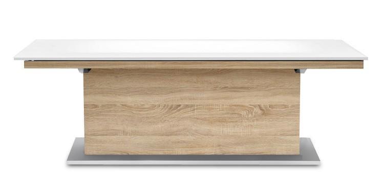 Jídelní stůl Deck 220 cm (deska bílá lesk/kostra postavec dub)