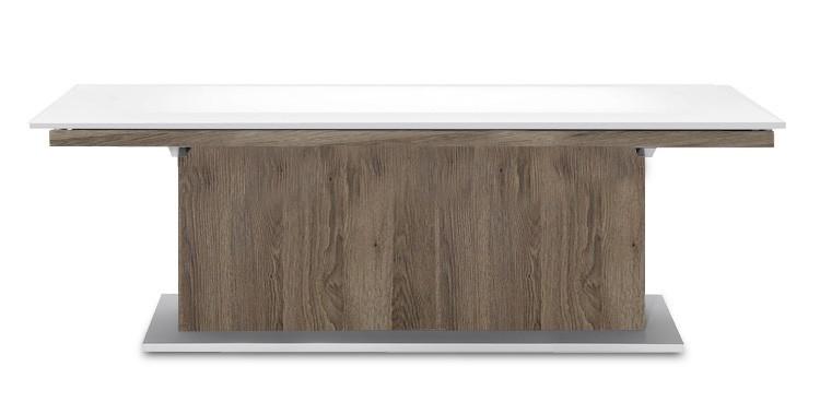 Jídelní stůl Deck 220 cm (deska bílá lesk/kostra postavec tmavý dub)